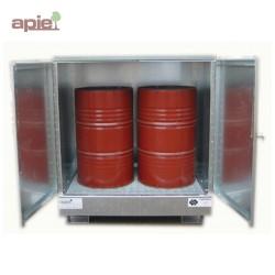 Armoire de stockage pour 2 fûts de 220 L, finition acier galvanisé