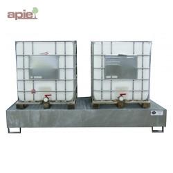Bac de rétention en acier pour 2 cubitainers de 1000L