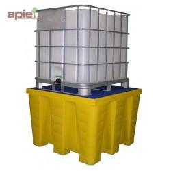 Bac de rétention en PEHD pour 1 cubitainer de 1000 L, vol. 1200L
