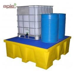 Bac de rétention en PEHD pour 1 cubitainer de 1000 L, vol. 1500L