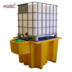 Bac de rétention en PEHD pour 1 conteneur de 1000 L, avec poste de soutirage intégré