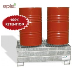 Bac de rétention acier 2 fûts de 220 L - rétention 100%