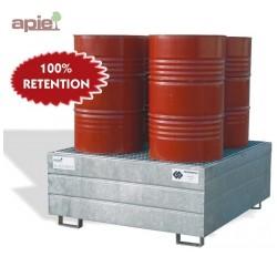 Bac de rétention acier pour 4 fûts de 220 L - rétention 100%