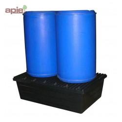 Bac de rétention en PEHD pour 2 fûts de 220 L - fond plat, avec caillebotis