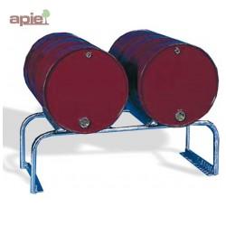 Support en acier galvanisé pour 2 fûts de 220 L horizontaux