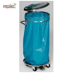 Support sac poubelle en INOX mobile avec ouverture par pédale