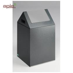 Poubelle 60 L anti-feu - tri sélectif - trappe basculante - couleur gris foncé