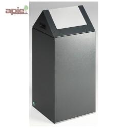 Poubelle 89 L anti-feu - tri sélectif - trappe basculante - couleur gris foncé