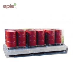 Bac de rétention en acier pour 3 conteneurs de 1000 L