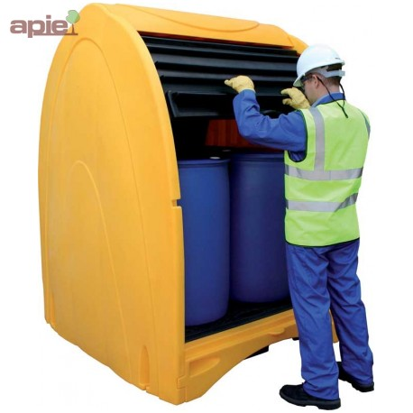 Box de stockage pour 4 fûts de 220 L, finition poyéthylène