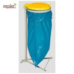 Support sac poubelle avec couvercle plastique jaune