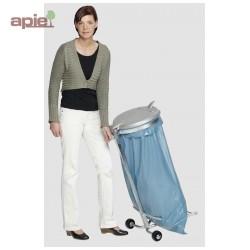 Support sac poubelle sur pieds avec 2 roulettes + couvercle plastique