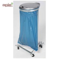 Support sac poubelle sur pieds avec 4 roulettes + couvercle plastique