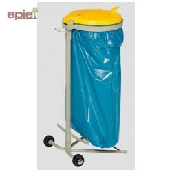 Support sac poubelle mobile avec couvercle plastique jaune