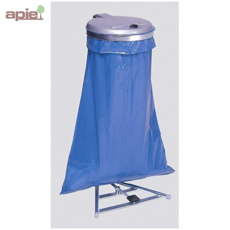 Support sac poubelle avec pédale + couvercle plastique, finition acier galvanisé