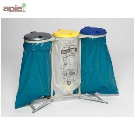 Support sac poubelle triple avec couvercles plastiques