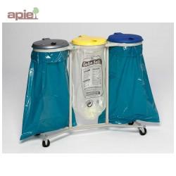 Support sac poubelle triple mobile avec couvercles plastiques