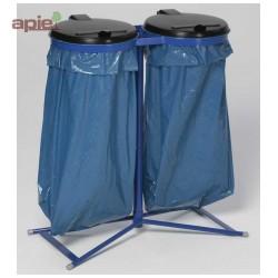Support sac poubelle sur pieds double avec couvercles