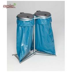 Support sac poubelle galvanisé sur pieds double avec couvercles