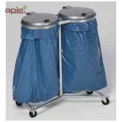 Support sac poubelle double sur pieds avec roulettes + couvercles