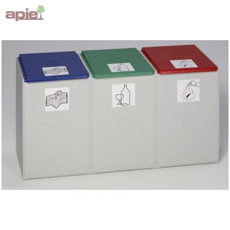 Collecteur triple tri sélectif 3x60 L, avec 3 couvercles
