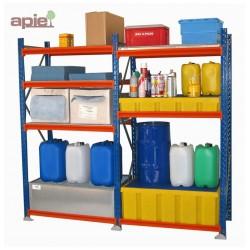Rayonnage en rétention pour petits volumes avec bacs de rétention en acier ou plastique