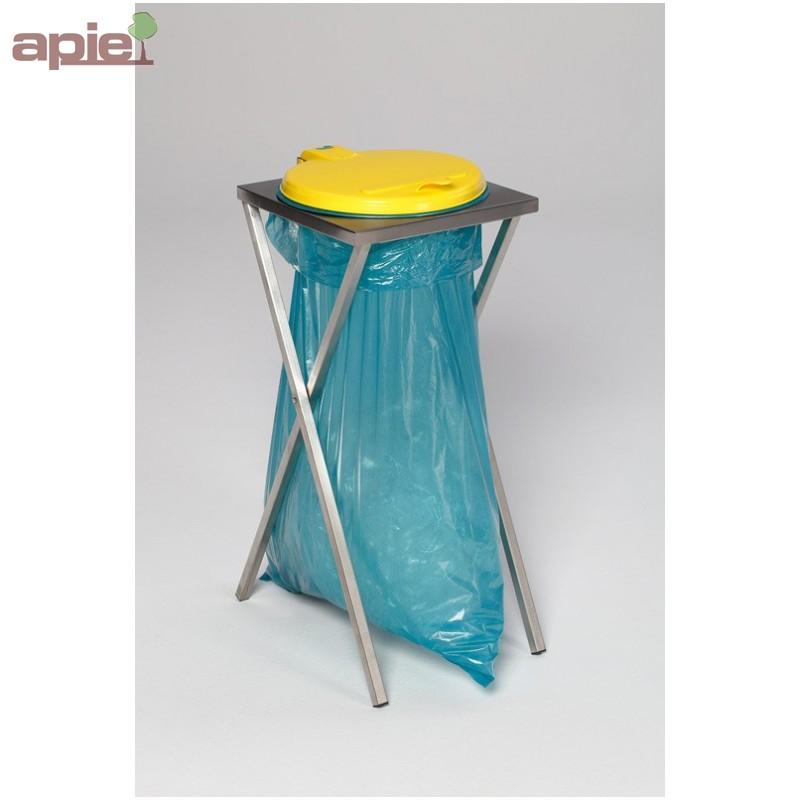 support sac poubelle en inox avec couvercle plastique. Black Bedroom Furniture Sets. Home Design Ideas