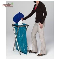 Support sac poubelle en INOX avec pédale + couvercle plastique