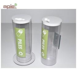 Collecteur pour piles usagées - petit modèle TRANSPARENT 5,5 L