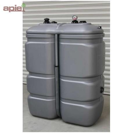 Cuve 1000 L pour fioul / gasoil / GNR, double paroi en polyéthylène - gamme CFPE