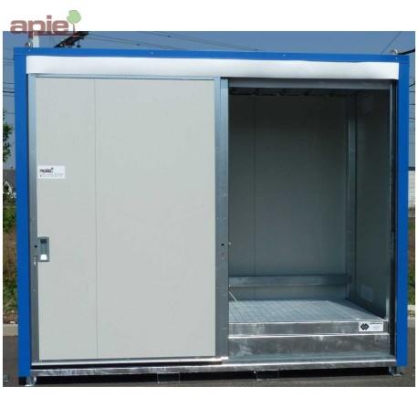 Armoire isolée pour 8 fûts ou 2 conteneurs 1000L, gamme intégrale