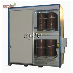 Armoire isolée pour 16 fûts ou 4 conteneurs 1000L, gamme intégrale