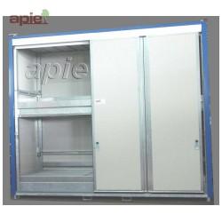 Armoire isolée pour 24 fûts ou 6 conteneurs 1000L, gamme intégrale