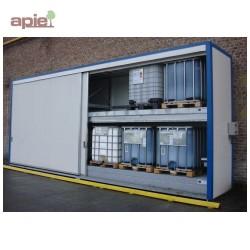 Armoire isolée pour 48 fûts ou 12 conteneurs 1000L, gamme intégrale