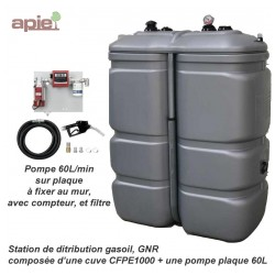 Station gasoil 1000 L avec pompe 60L/min 230 V